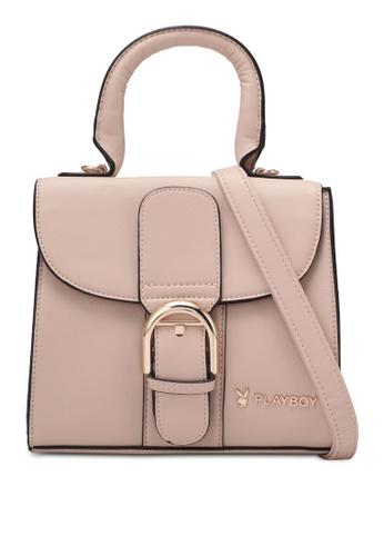 PLAYBOY BUNNY beige Buckle Detail Top Handle Bag PL604AC0RX6PMY_1