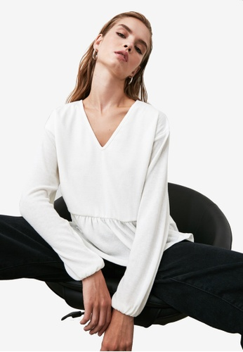 Trendyol white V Neck Smock Knitted Top 0EC3FAACD90FA7GS_1