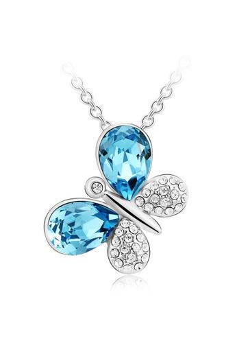 OUXI blue OUXI Elegant Butterfly Necklace (Aquamarine) OU821AC87LAQMY_1