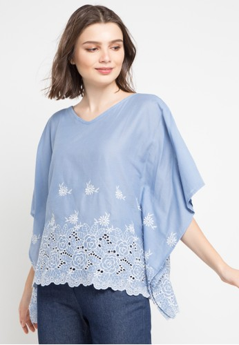 Chic Simple blue and multi Cotton Eyelet Batwing Blouse 625A4AACBDE96EGS_1