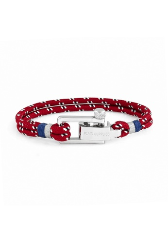 PLAIN SUPPLIES red U-Lock Burgundy Rope Bracelet F055BAC88706FFGS_1