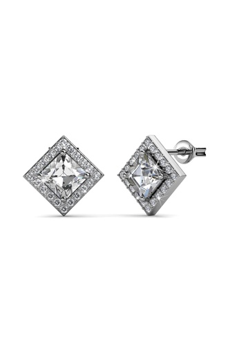Her Jewellery silver Swarovski® Crystals - Squarish Earrings (18K White Gold Plated) Her Jewellery HE581AC0RAEFMY_1