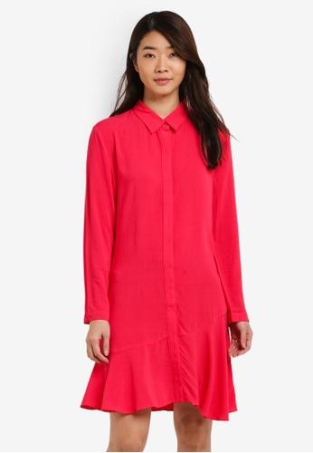 ZALORA red Long Sleeves Frill Hem Dress 7233FAA95C4245GS_1
