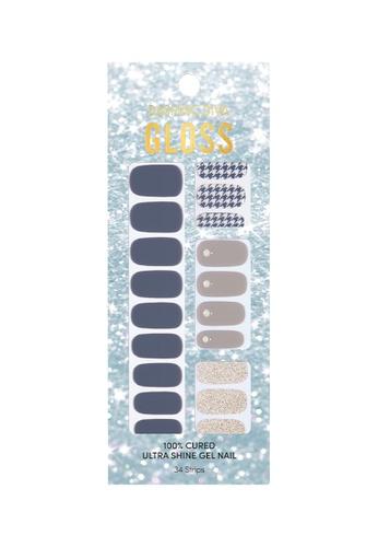 Dashing Diva blue Dashing Diva Gloss Gel Strip Manicure Blue Houndtooth  /Nail Sticker /Nail Wraps CFC04BE36CA4D9GS_1