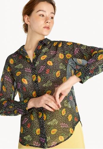 Pomelo black Floral Sheer Button Up Shirt - Black DFA3BAA3B48486GS_1