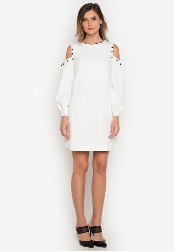 NOBASIC white Cold Shoulder White Dress AA305AA65EB38BGS_1