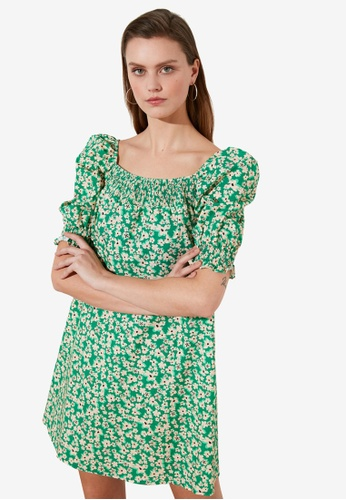 Trendyol green Puff Sleeve Printed Swing Dress 25A2CAA0BC4442GS_1