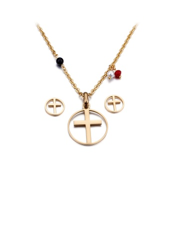 Glamorousky silver Simple and Classic Plated Gold Cross Geometric Round 316L Stainless Steel Necklace and Stud Earrings Set 807E5AC5F93DECGS_1