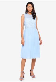 e63df33201 WAREHOUSE blue Int Lace Mix Midi Dress 0ECC2AA0911171GS_1