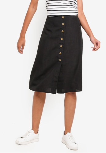 ZALORA BASICS black Basic Button Through Midi Skirt 76B3AAA08FD0F2GS_1