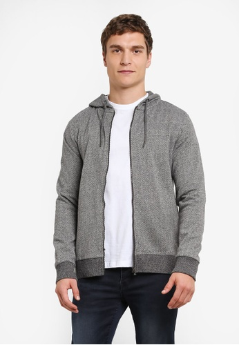 Burton Menswear London grey Grey Herringbone Zip-Through Hoodie BU964AA0S5MJMY_1