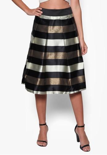金屬感條紋及膝短裙esprit門市地址, 服飾, 裙子
