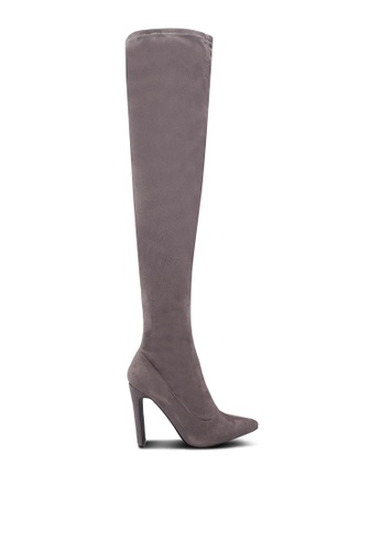 b0fdb4153a7 Public Desire grey Stage Set Back Heel Over The Knee Boots  39581SH579DF1AGS 1