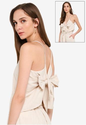 Mink Pink beige Layered Tie Cami 0133BAA260420DGS_1