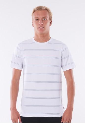 Rip Curl white Plain Stripe Tee - White Blue 34125AA26292EDGS_1