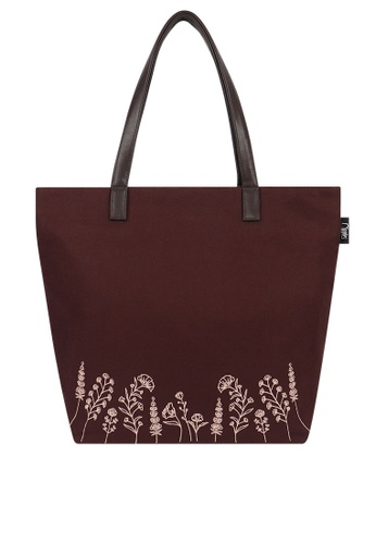 Ripples purple Estella Floral Embroidery Tote Bag 7FE00ACB2731F9GS_1