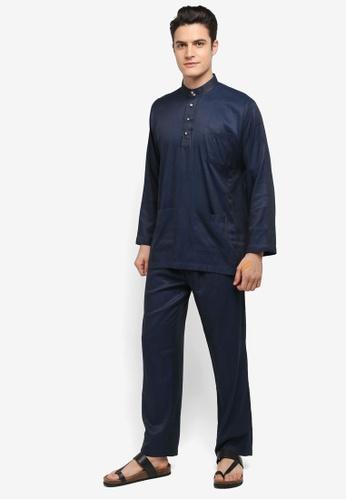 Mayasilk blue Baju Melayu SB Line Dainty Print 3A5E8AA8D48022GS_1