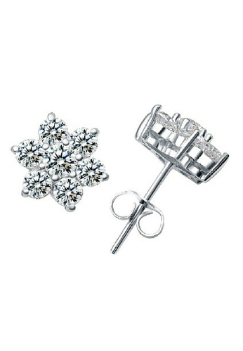 Vivere Rosse silver Let It Snow 925 Sterling Silver Stud Earrings VI014AC72ZWPMY_1