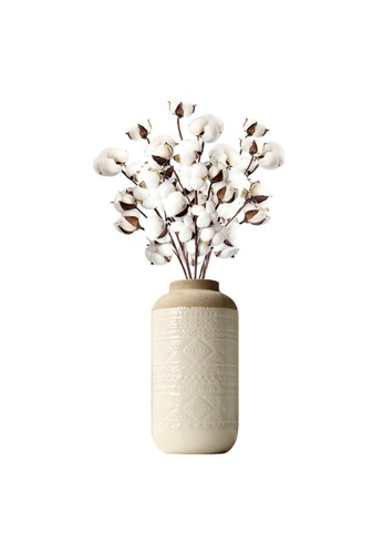 Propstation Cotton Ball Branch Stems Arrangement in Nude Rustic Ceramic Vase B40C0HL53F6456GS_1