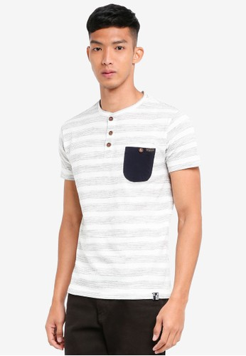 Indicode Jeans white and grey Robby Melange Striped Pocket Grandad T-Shirt 0B3D3AACD261A6GS_1