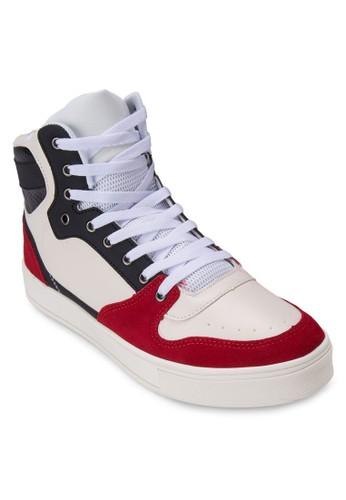 90S zalora 衣服評價異材質拼接高筒運動鞋, 鞋, 休閒鞋