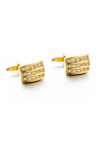 Kings Collection 金色 三排鑲水晶袖扣 (KC20316) 1614FAC2A41AA8GS_1