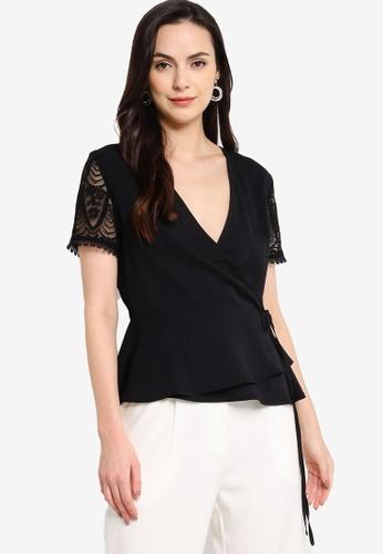 ZALORA WORK black Lace Sleeves Wrap Top FABEAAA562E104GS_1