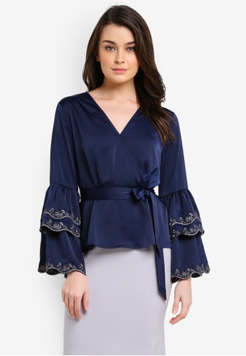 Zalia navy Embroidered Layered Sleeve Wrap Top 6C6ECAAE3936A7GS_1
