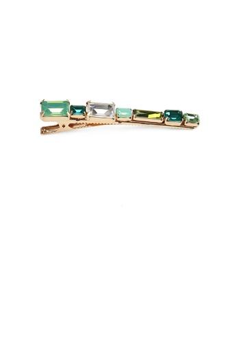 Glamorousky green Simple and Fashion Plated Gold Geometric Strip Green Cubic Zirconia Hair Clip ADAC8AC8FFFCEEGS_1