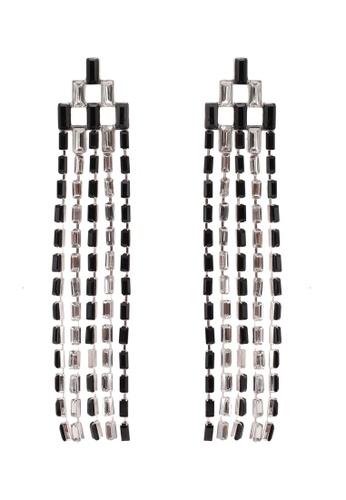River Island black and white Mono Cup Chain Drop Earrings RI009AC0S321MY_1