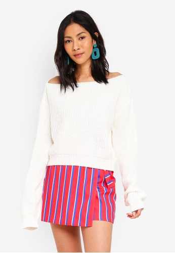 MISSGUIDED white Crop Off Shoulder Jumper F450FAA0C0451FGS_1