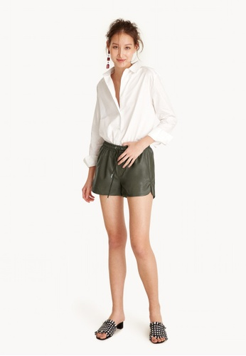 Pomelo green Faux Leather Drawstring Shorts - Olive B80FEAAD4E46ADGS_1