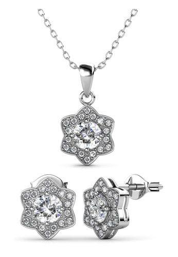 Her Jewellery silver Estella Set (White Gold) - Embellished with Crystals from Swarovski® 05562AC1B0289CGS_1