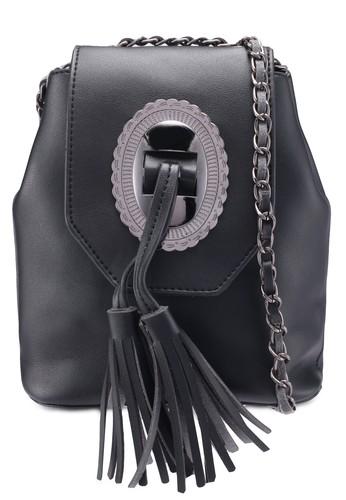 Bagstationz black Tassel Mini Sling Bag 90F5FACF80E195GS_1