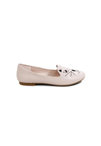 prettyFIT pink Soft Pink Lambskin Loafers With Cat Face Embroidery Details F26FESH592CF5BGS_1