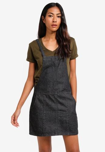 ZALORA BASICS black Basic Denim Pinafore Dress 59589AA96C51D2GS_1