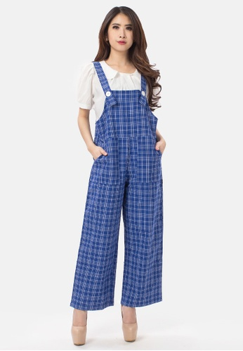 MKY Clothing blue MKY Plaid Overall in Blue AF39DAAB6FF2B3GS_1