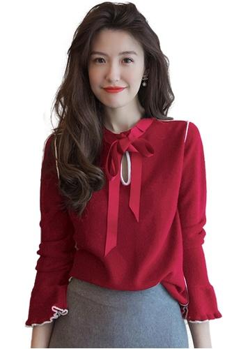 Sunnydaysweety red Ribbon Bow Bell Sleeve KnitA111102RD D5C08AA2ADAFC3GS_1