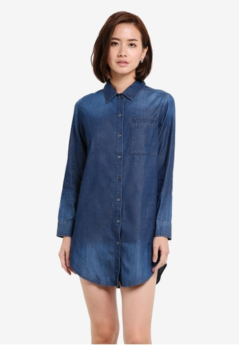 ZALORA blue Washed Denim Shirt Dress 2FCAFZZDD067DDGS_1