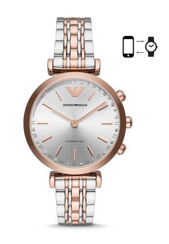 Emporio Armani silver and gold Emporio Armani Gianni T-Bar Smart Watch ART3019 CC0B4AC3EF8D44GS_1