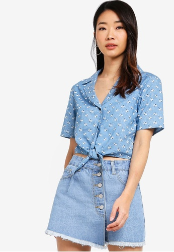 Something Borrowed blue Resort Shirt With Tie BF304AA2B557BCGS_1