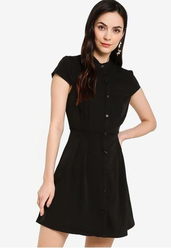 ZALORA WORK black Mandarin Collar Fit & Flare Dress FB19EAA32EFBC9GS_1