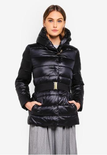 Sisley black Hooded Padded Jacket 846E2AA968ED48GS_1