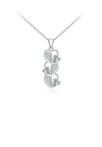 Glamorousky white Simple Romantic Heart Pendant with Cubic Zircon and Necklace 91813ACFBBDE01GS_1