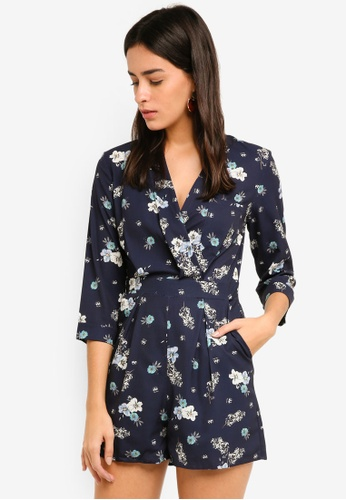 MDSCollections multi and navy Kaara Wrapped Romper 88535AA54C417DGS_1