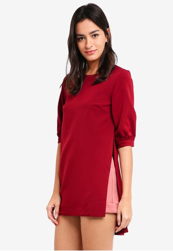 MDSCollections red Allana Sleeved Romper In Maroon 8B02DAABAE5DC2GS_1