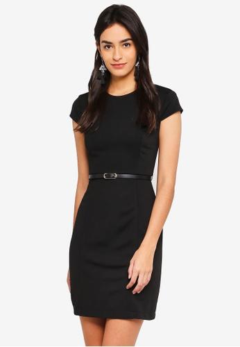 ZALORA BASICS black Cap Sleeves Sheath Dress 010C8AA65D5643GS_1