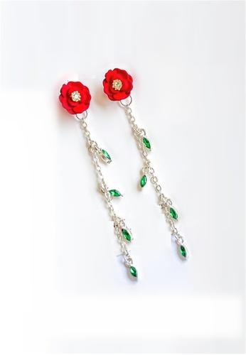 Crystal Korea Fashion South Korea-made new anti-allergy silver needle safflower long earring F1178AC041A336GS_1