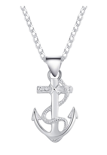 Sterling Silver Anchor with Rope Necklace Silver Necklace