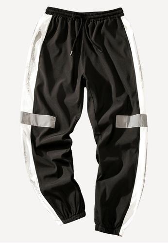 hk-ehunter black Men's Striped Loose Jogger 73DDBAA6CD9B10GS_1